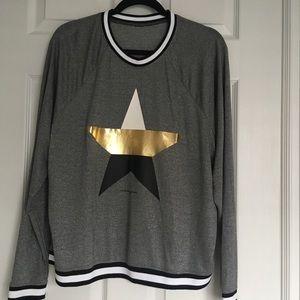 Betsy Johnson women's metallic star stripe rib pullover size L Gray Black Gold
